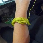 Step 7: lime yarn for step 7.